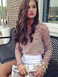 Women's Lace Crochet Splicing Chiffon Blouse