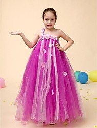 Ball Gown Floor-length Flower Girl Dress - Tulle Sleeveless One Shoulder with