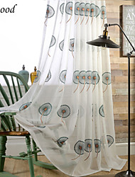 (One Panel)Grommet Top Classic Green Windmill Flower Fresh Style Natural Linen Embroidery Sheer Curtain