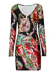 Women's Long Sleeve Tunic V-neck Mini Slim Print Dress