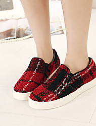 Women's Spring Round Toe Fabric Casual Platform Black / Green / Red