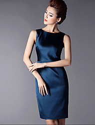 Women's Vintage Casual Micro Elastic Sleeveless Knee-length Dress (Others)