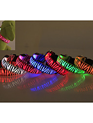 Dog Collar Waterproof / LED Lights / Zebra Red / White / Green / Blue / Pink / Yellow / Orange Nylon