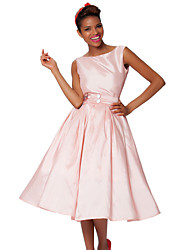 Cocktail Party Dress - Blushing Pink Plus Sizes A-line Bateau Knee-length Taffeta