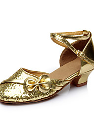 Women's Girl's Kids' Dance Shoes Latin / Salsa / Samba Paillette 3.5CM Heel Red / Silver / Gold / Other