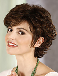 Elegant Brown Mix Short Curly hair synthetic wigs
