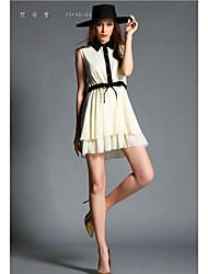 De las mujeres Vestido Sobre la rodilla - Botón Escote Chino - Raso - Sin Mangas