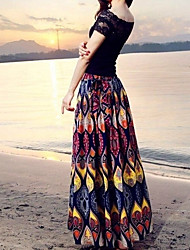 De las mujeres Faldas-Maxi VintageAlgodón