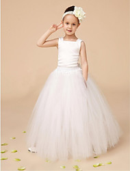 Ball Gown Floor-length Flower Girl Dress - Tulle Sleeveless Square with