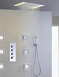 Moderno Ducha lluvia Separado Alcachofa incluida LED with  Válvula Cerámica Cuatro manijas cinco hoyos for  Cromo , Grifo de ducha