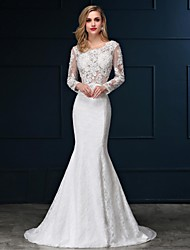 Trumpet / Mermaid Wedding Dress See-Through Sweep / Brush Train Scoop Lace Satin with Appliques