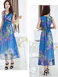 Women's Sexy / Party Floral A Line Dress , V Neck Midi Silk