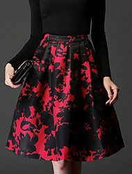 Women's Jacquard Red / White Skirts , Vintage / Party High Rise Mini