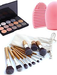 11pcs pinceles de maquillaje de cejas cosméticos fundación kabuki kits + 15 colores de sombra de ojos brillan paleta + herramienta de