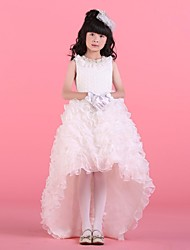 Ball Gown Asymmetrical Flower Girl Dress - Satin / Tulle Sleeveless Jewel with