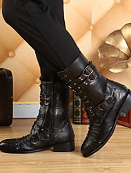 Men's Shoes Pointed Toe Low Heel Leather Motorcycle Ankle Boots
