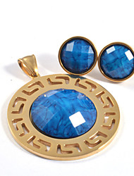 Fashion Faceted Acrylic Beads 316L Stainless Steel Gold Plated (Necklace&Earrings) Jewelry Sets