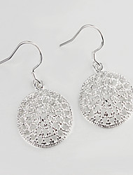 2015 Italy Style circle Design Silver Plated Drop Earrings for Lady