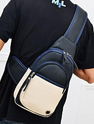 Men 's PU Messenger Shoulder Bag - White