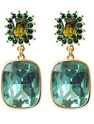 Drop Earrings Emerald Crystal Gemstone Alloy Screen Color Jewelry 2pcs