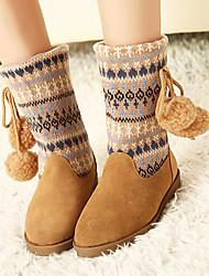 Zapatos de mujer - Tacón Plano - Botas de Nieve / Punta Redonda - Botas - Exterior / Casual - Sintético - Bermellón / Caqui