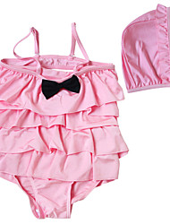 Baby Girl's Pink/Hot Pink 2pcs/set Backless Swimsuit with Swim Hat and Ruffles Accessories on Top for 2~8Years