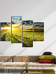 VISUAL STAR®4 Panel Group Painting Sunset Landscape Canvas Wall Art High Quality Canvas Ready to Hang