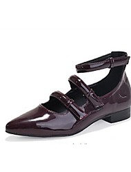 Chaussures Femme - Décontracté - Noir / Rouge - Talon Plat - Bout Pointu / Bout Fermé - Plates - Similicuir
