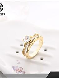 Sjeweler Girls Engagement 24K Gold Plated Zircon Ring