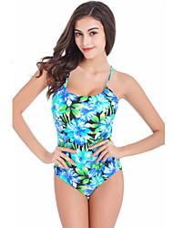 Mulheres Maiô Floral Nadador Com Bojo / Com Aro Nylon / Elastano Mulheres