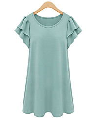 Women's Ruffle Casual Plus Sizes Micro-elastic Short Sleeve Above Knee Dress (Cotton)