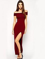 Women's Sexy Bodycon Inelastic Short Sleeve Maxi Dress (Cotton)