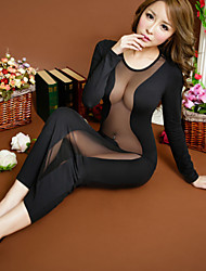 Для женщин Ультра-секси Ночное белье Однотонный Смесь хлопка Черный