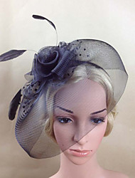 Women Feather/Net Black Birdcage Veils/Flowers With Wedding/Party Headpiece