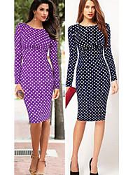 Women's Polka Dot Blue / Purple Dresses , Bodycon Round Long Sleeve