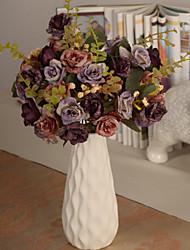 branco cerâmica flor vaso de flor artificial arranjo casa / decoração do casamento