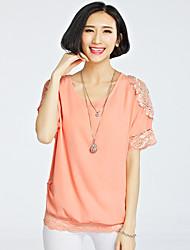 Spets/Ihålig Kortärmad T-shirt Kvinnors Rund hals Polyester