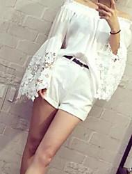 Women's Lace White Blouse , Bateau Long Sleeve Lace