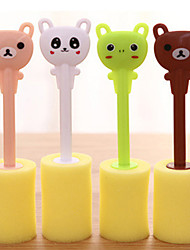 Cute Cubs Sponge Brush Bottle Cup Glass Washing Cleaner Kitchen Tool (Random Color)