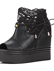 Zapatos de mujer - Tacón Cuña - Cuñas - Tacones - Casual - Semicuero - Negro