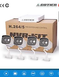 cotier®4ch ONVIF nvr kits 720p / 960p / 1080p / numérique / Mini / vision de nuit / balle caméra ip n4b7-mini / l