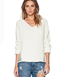 Women's V-Neck Sweaters , Cotton Blend Casual/Work Long Sleeve Phylomeya