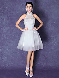 A-line Short/Mini Wedding Dress - Halter Tulle