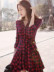 Vestidos ( Mistura de Algodão ) MULHERES - Casual / Trabalho Colarinho de Camisa - Manga Comprida