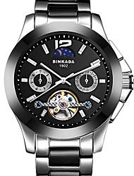 BINKADA Men's Fashion Hollow Out Dial Steel Band Automatic Mechanical Wrist Watch