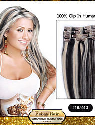 "18 ""1b / 613 clip in remy human hair extensions"