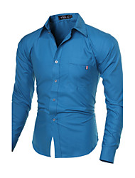 Men's Solid Casual / Work / Formal / Sport / Plus Sizes Shirt,Cotton Blend Long Sleeve Blue / White