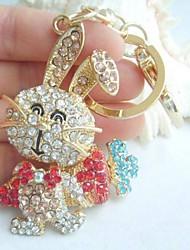 Lovely Multicolor Rhinestone Crystal Radish Rabbit KeyChain Pendant