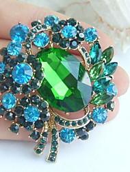 2.36 Inch Gold-tone Blue Green Rhinestone Crystal Flower Brooch Pendant Art Decorations