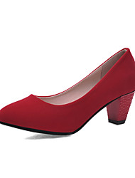 Women's Shoes Chunky Heel Heels/Pointed Toe/Closed Toe Pumps/Heels Office & Career/Dress/Casual Black/Red